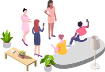 Figure 1 – People inside the ACA using their smartphone to explore the augmented content